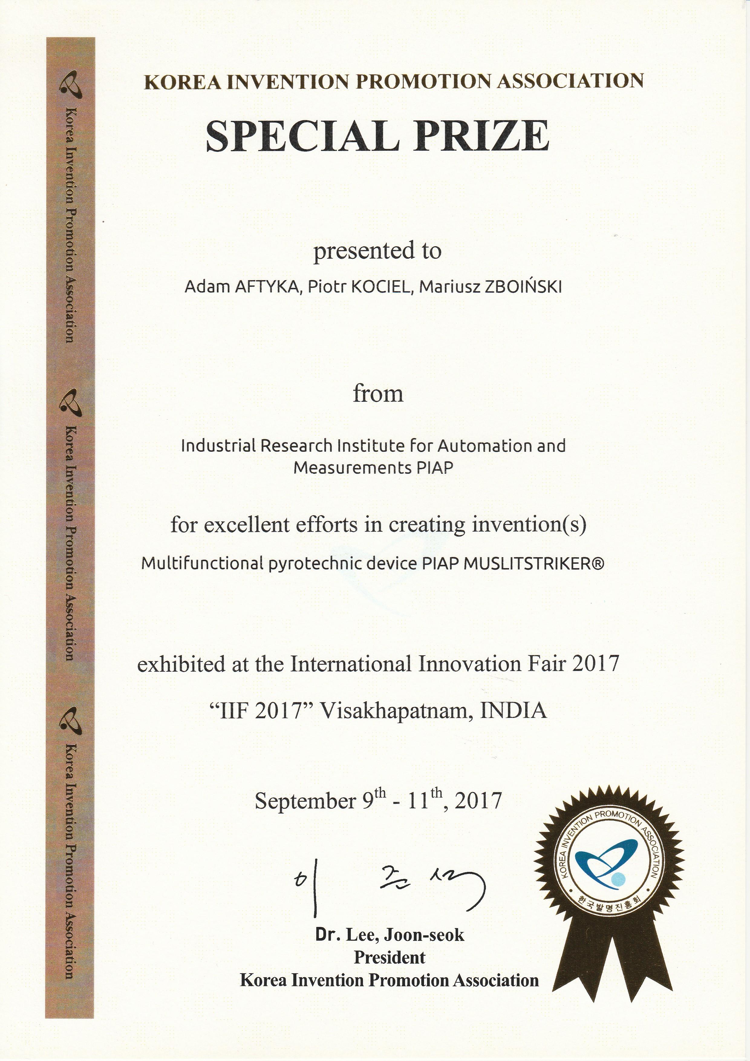 Multistriker special prize IIF 2017